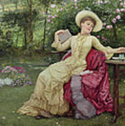Drinking Coffee And Reading In The Garden Print by Edward Killingworth Johnson