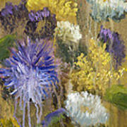 Drippy Bouquet With Gold Leaf By Vic Mastis Print by Vic  Mastis