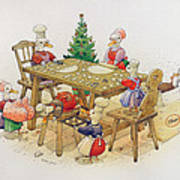 Ducks Christmas Print by Kestutis Kasparavicius