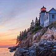 Dusk At Bass Harbor Light Print by Stephen Beckwith