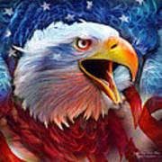 Eagle Red White Blue 2 Print by Carol Cavalaris