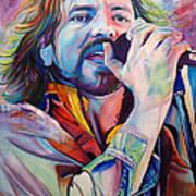 Eddie Vedder In Pink And Blue Print by Joshua Morton