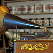 Edison Home Phonograph With Morning Glory Horn Print by Christine Till