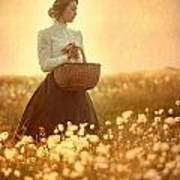 Edwardian Woman In A Meadow At Sunset Print by Lee Avison