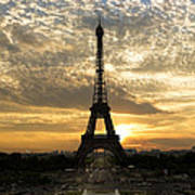 Eiffel Tower At Sunset Print by Debra and Dave Vanderlaan