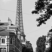 Eiffel Tower Black And White 4 Print by Andrew Fare