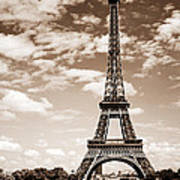 Eiffel Tower In Sepia Print by Elena Elisseeva