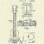 Electric Guitar 1937 Patent Art Print by Prior Art Design