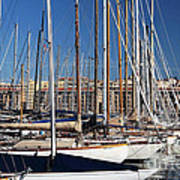 Empty Masts In Vieux Port Print by John Rizzuto