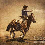End Of Trail Mounted Shooting Print by Priscilla Burgers