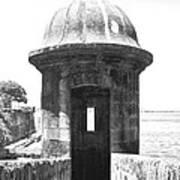 Entrance To Sentry Tower Castillo San Felipe Del Morro Fortress San Juan Puerto Rico Bw Film Grain Print by Shawn O'Brien
