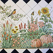 Espinosa's Flower Garden Tile Mural Print by Julia Sweda