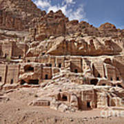 facade street in Nabataean ancient town Petra Print by Juergen Ritterbach