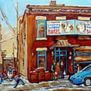 Fairmount Bagel In Winter Montreal City Scene Print by Carole Spandau