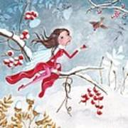 Fairy With Berries Print by Caroline Bonne-Muller