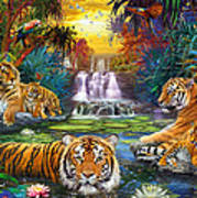 Family At The Jungle Pool Print by Jan Patrik Krasny