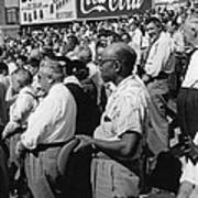 Fans At Yankee Stadium Stand For The National Anthem At The Star Print by Underwood Archives
