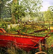 Farm - Tool - A Rusty Old Wagon Print by Mike Savad