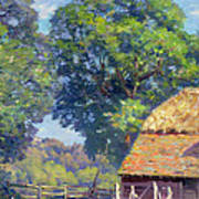 Farmyard With Poultry Print by Gabriel Edouard Thurner