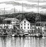 Farsund Dock Scene Pen And Ink Print by Janet King