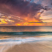 Fiery Skies Azure Waters Rendezvous Print by Photography  By Sai