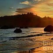 Fire Over Trinidad Beach Print by Adam Jewell