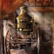 Fireman - Steam Powered Water Pump Print by Mike Savad