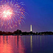 Fireworks Across The Potomac Print by Steven Barrows