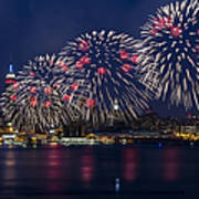 Fireworks And Full Moon Over New York City Print by Susan Candelario