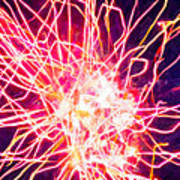 Fireworks At Night 6 Print by Lanjee Chee