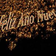 Fireworks Feliz Ano Nuevo In Elegant Gold And Black Print by Marianne Campolongo