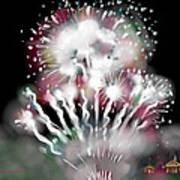 Fireworks On High School Hill Print by Jean Pacheco Ravinski
