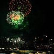 Fireworks Over Brooklyn Bridge And New York City Print by Diane Lent