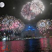 Fireworks Over Detroit Print by Michael Rucker