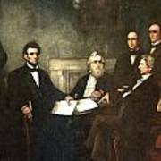 First Reading Of The Emancipation Proclamation Of President Lincoln Print by Georgia Fowler