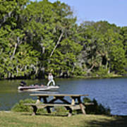 Fishing At Ponce De Leon Springs Fl Print by Christine Till