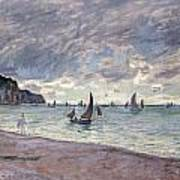Fishing Boats In Front Of The Beach And Cliffs Of Pourville Print by Claude Monet