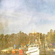 Fishing Boats Newport Oregon Print by Carol Leigh