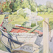 Fishing Print by Carl Larsson