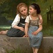 Fishing For Frogs Watercolor Version Print by William Bouguereau