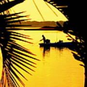 Fishing In Gold Print by Karen Wiles
