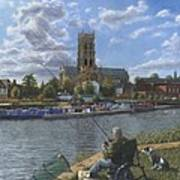Fishing With Oscar - Doncaster Minster Print by Richard Harpum