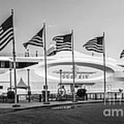 Five Us Flags Flying Proudly In Front Of The Megayacht Seafair - Miami - Florida - Black And White Print by Ian Monk