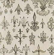 Fleur De Lys Designs From Every Age And From All Around The World Print by Jean Francois Albanis de Beaumont