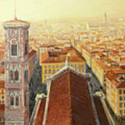 Flight Over Florence Print by Kiril Stanchev