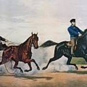 Flora Temple And Lancet Racing On The Centreville Course Print by Currier and Ives