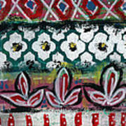 Floral Fiesta- Colorful Pattern Painting Print by Linda Woods
