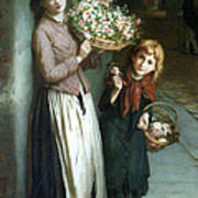 Flower Girls A Summer Night Print by Augustus Edwin Mulready
