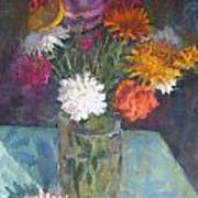 Flowers And Glass Print by Terry Perham