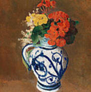 Flowers In A Blue Vase Print by Odilon Redon